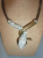 Bejewelled Snake Serpent on Faux Leather Plaited Brown Necklace Crystal Eyes
