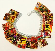 Vintage Comic Book Covers Marvel DC Fun Loaded Handmade Bracelet Plastic Charms