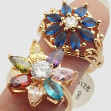 Wholesale 2 Pcs/Lot Colorful Marquise Cubic Zircon Gold Plated Lady Rings Size 8