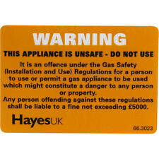 New unsafe appliance warning label, gas safe, kitchen, cooker, boiler, 10 pack