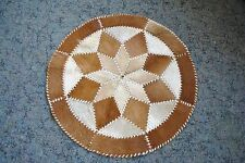 Vintage Hand Crafted Round Cow Hide & Leather Rug (WF)