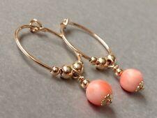 Vintage Beautiful Peach Angel Skin Coral & 14ct Rolled Gold 15mm Hoop Earrings