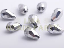 New 10pcs 15X10mm Teardrop Faceted Loose Glass Spacer Big Beads Silver Plated