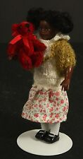 Little Black Girl Doll House Miniature with Red Bear and Flowery Skirt