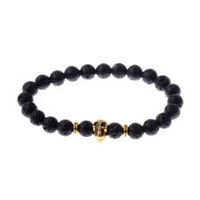 New Charm Men's Spot Natural Lava Stone Gold Skull Head Beads Man's Bracelets