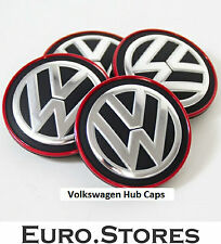 VW Volkswagen Golf VII Red Chrome Center Wheel Caps Hub Caps Genuine New