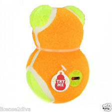 KONG DOG BEAR TENNIS BALL W/ON & OFF SQUEAKER SWITCH ORANGE BEAR NEW! FREE SHIP!