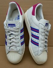 ADIDAS SUPERSTAR 80's TRAINERS SIZE 7 UK WORN ONCE IMMACULATE PINK BLUE BEIGE