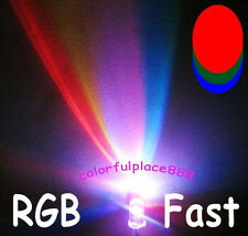 100pcs 5mm RGB Rainbow Fast Flashing Flash Red Green Blue LED Leds + Resistors