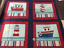 "Fabric Nautical Regatta Ships Ahoy Lighthouse 6 Square Panel Cotton 24"" x 42"""
