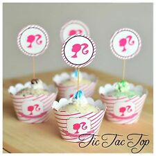 12pcs Barbie Doll Cupcake Toppers + Wrappers. Girls Princess Party