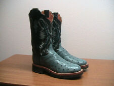 Womens 7.5 B LUCCHESE Blue Exotic Full Quill Ostrich Western Cowboy Boots