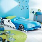 NEW Childrens Kids Blue White Racing Car Single Bed