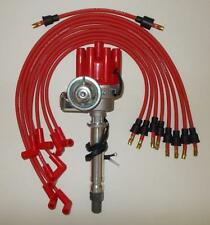 SBC CHEVY RED FEMALE Small HEI Distributor & SPARK,PLUG WIRES Over Valve Covers