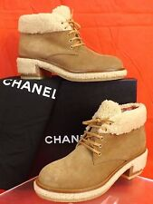 NIB CHANEL BROWN  BEIGE SUEDE FAUX FUR SHEARLING LACE UP CC LOGO ANKLE BOOTS 39
