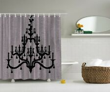 Glamour Hollywood Black Chandelier Digital Print Shower Curtain Royal Bath Decor