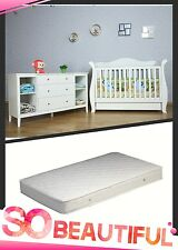 White Zealand Pine 3-in-1 Baby Sleigh Cot Bed & 4 Drawers Change Table Package