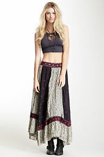 Free People Purple Voile Heirloom Embroider Boho Festival Maxi Skirt M $198 Rare