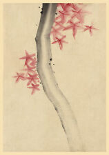 Japanese Art Print: Tree with Red Star Leaves -  Fine Art Reproduction