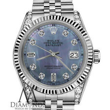 Rolex 31mm Datejust TahitianMother of Pearl Diamond 8+2 18K White Gold SS Watch