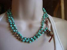 Anthropologie summer beaded wrap necklace or bracelet/ turquoise beads/ leather