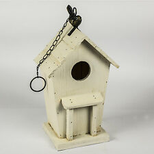 Wooden Cream Painted Finish Garden Decor Accessory Hanging Bird House Box Feeder