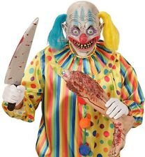Psycho Clown Halloween Fancy Dress Latex 3/4 Face Mask With Hair