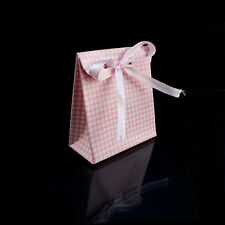 24pcs Pink Box Gift Favor Candy Box Baby Shower Party Checkered Bow Bag White