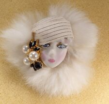 LADY HEAD FACE Porcelain-Look brooch pin Figural Flapper White fur RS Handmade