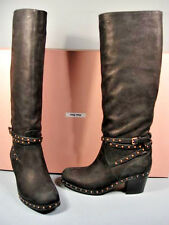 MIU MIU BLACK LEATHER GOLD STUDDED BUCKLE KNEE HIGH MOTORCYCLE BOOTS 35.5/5.5
