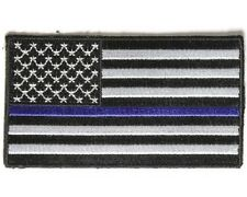 "(O) BLUE LINE Subdued AMERICAN FLAG 3.5"" x 2"" iron on patch (4008) Police"