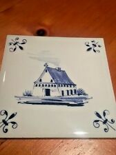Blue Delft Dutch Hand Painted Cottage/Farm House Wall Tile Delfts Blauw Holland