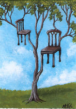 ACEO surreal landscape tree chairs original painting by MOTYL