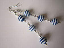 Long Drop / Dangle Earrings - Nautical / Sailor Stripe - Blue / White