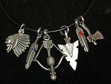 "Indian Chief & Weapons Charm Mix Tibetan Silver with 18"" Rope Necklace"