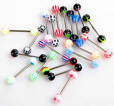 100pcs Aryclic Steel Ball Tongue Nipple Bar Ring Barbell Body Piercing Jewelry