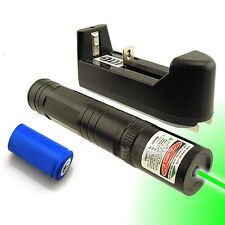 Powerful 5mw 532nm Green Laser Pointer Pen Beam Light + 16340 Battery + Charger
