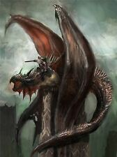 ART PRINT POSTER PAINTING DRAWING FANTASY MONSTER DRAGON WARRIOR LFMP1049