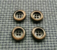 4 Copper Tone Worn Metal Look Buttons 17mm Vintage Gothic Steampunk Style