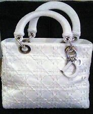 AUTHENTIC christian dior LADY DIOR white leather BRAIDED handbag