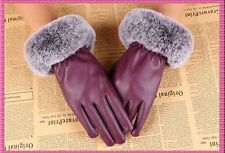 Beautiful Ladies Faux Leather & Fur Trimmed Touch Screen Gloves Insulated Medium
