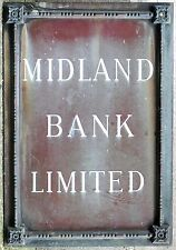 Old fine casting bronze enamel inlay building sign plate Midland Bank HSBC 1930s