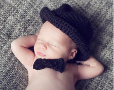 Crochet Knitting Handmade Gentleman Hats Bowknot Sets Newborn Baby Photo Props