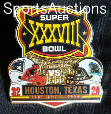 SUPER BOWL 38 Final Score PIN & CARD Willabee Ward PATRIOTS PANTHERS SB XXXVIII