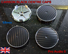 4x CARBON BLACK WHEEL CENTRE CAPS 68mm UNIVERSAL BMW MV1 MV2 E46 E36 E90 E34 UK