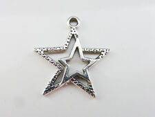 10 x Pretty Star Charms Pendants Findings 23mm x 20mm Antique Silver   (CPX7076)