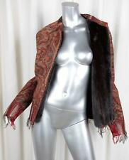 BY WALID Womens Red Multicolor Paisley Mink Fur Lined Zip Jacket Coat S NEW NWT