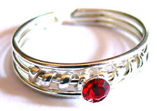 BAGUE DE PIED/ORTEIL BIJOUX METAL ANNEAU TOE RING ANILLO DE PIE STRASS ROUGE RED