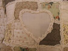 SMALL SHABBY CHIC VINTAGE FLORAL PATCHWORK CUSHION COVER WITH RUFFLES  16 X 16""