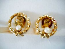 FAUX PEARL & OPEN GOLD TONE BRAIDED CIRCLE CLIP-ON EARRINGS